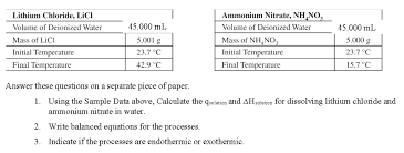 ammonium nitrate nh no lithium chloride licl 45 000 ml volume of deionized water