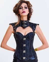 details about cc95 black steampunk boned leather corset brocade jacket goth costume