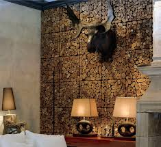 spectacular black finished faux deer head hang on wood paneling ideas over wood table and mini shade lamps as vintage interior decorating tips