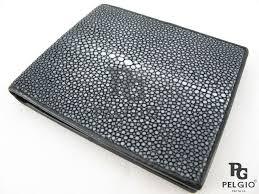 pelgio genuine polished stingray skin leather soft slim bifold wallet black