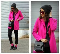 women s hot pink coat black wool skinny pants black leather oxford shoes black leather cross bag women s fashion