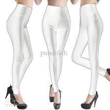 white faux leather leggings