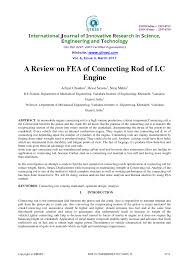 Design And Analysis Of Connecting Rod Project Report Pdf A Review On Fea Of Connecting Rod Of I C Engine