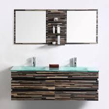 Modern Bathroom Vanity Set Wall Mount-Double Glass Sink and Mirror-55