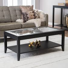 shelby glass top coffee table with quatrefoil underlay  hayneedle