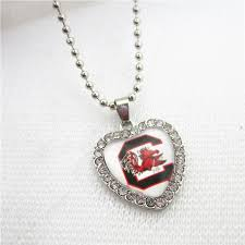 10pcs crystal heart south carolina games necklace jewelry with 50cm chains usa sports necklace jewelry university