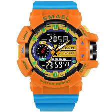 <b>Smael SMAEL</b> Watch <b>1436 Men</b> Gold Sports Watches LED Dual ...
