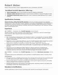 Sample Resume For Forklift Driver Inspirational Forklift Operator