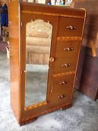 vintage antique furniture wardrobe walnut armoire. Vintage-Waterfall-Armoire-Closet-Wardrobe-Bakelite-Metal-Handles- Vintage Antique Furniture Wardrobe Walnut Armoire