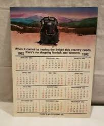 Details About 1982 Norfolk And Western Railroad Calendar W Demurrage Chart On The Back