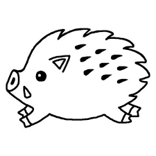 亥イノシシのイラストa白黒2007年亥年平成19年猪いのししと