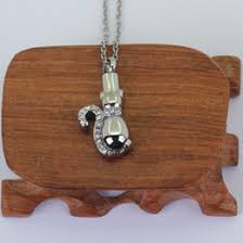 cremation jewelry snless steel memorial necklace crystal cat pendant for pet p797