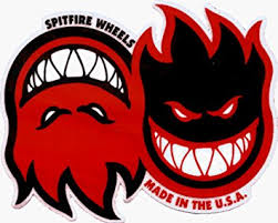 spitfire logo. spitfire wheels - red duo flame logo sticker / decal t