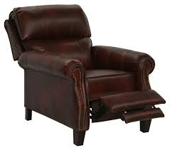 catnapper frazier bonded leather reclining chair with extended ottoman bourbon
