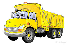 Yellow Dump Truck 3 Axle Cartoon Art Print
