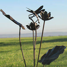 dragonfly garden stakes. Handcrafted Metal Rustic Dragonfly Garden Stake Ornament Sculpture Ironwork Art Stakes S