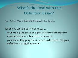 definition essay 5 what s the deal the definition essay