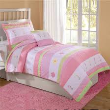 contemporary bedroom with twin full queen quilt bedding tara stripe pink green flowers comforter tara stripe pink green flowers comforter
