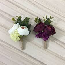 ivory wine red artificial flowers onhole boutonniere groom groomsman best man wedding accessories prom party suit