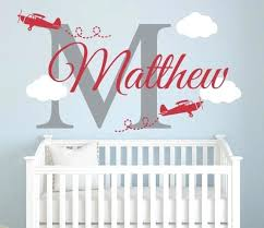airplanes name wall decal nursery room art decor vinyl design diy name wall