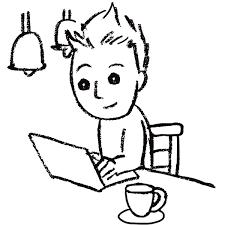 スケッチ画 デフォルメ カフェで仕事 無料イラストpowerpoint