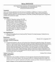 Emergency Medical Technician Resume Sample Resumes Misc