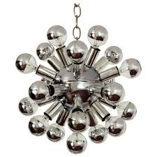 small sputnik chandelier light fixture in polished chrome 1960s for