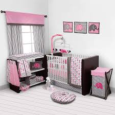 elephants pink grey crib set including per pad girl baby