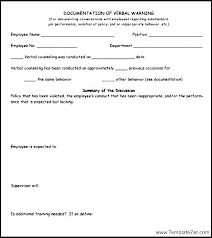 Form To Write Up An Employee Employee Verbal Warning Template Written Free Best Of