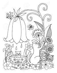 Illustration Un Chat Baigne L Un Chaton Sur La Nature Dessin