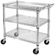 3 tier rolling utility cart chrome steel wire storage tool adjule shelves 1 of 6only 1 available