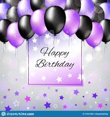Balloon Birthday Card Design Black And Pearl Purple Colorful Balloons Birthday Party