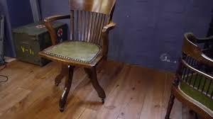antique solid oak captains swivel desk chair