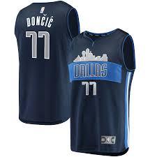 Mavericks Fast Navy Jersey Break Men's Luka Fanatics Branded Dallas Alternate Doncic