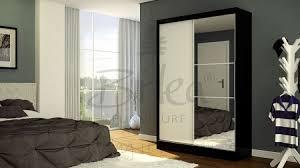 birlea lynx black with white gloss sliding door wardrobe with mirror by birlea