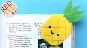 easy pineapple bookmark corner diy kawaii paper bookmark ideas red ted art