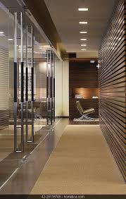 office hallway. Contemporary Modern Minimalistic Entrance Hallway, Office With Wood Panel  Recess Light And Carpet Floor Hallway
