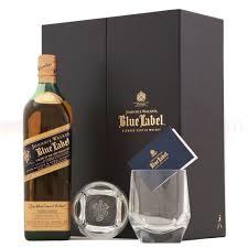 johnnie walker blue label whisky 70cl gift set with tumblers drinksupermarket