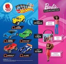 mcdonald s msia happy meal free hot wheels and barbie fashionistas from 29 march 2018