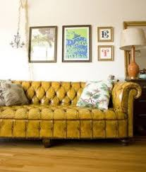 Yellow leather couches