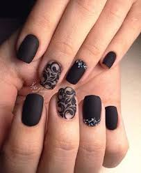 another studded black nail art if you love ornamented nails and black color as well