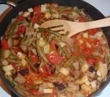 albanian stewed green beans and potatoes with smokey seitan