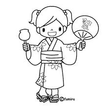 夏祭りりんごあめのイラストぬりえ 子供と動物のイラスト屋さん