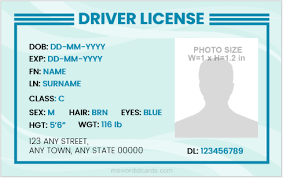 License Driver Microsoft Templates Card Id Word For