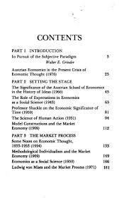 capital expectations and the market process essays on the  original table of contents or first page