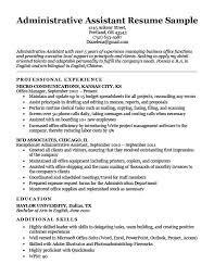 Example Of Resumes For Administrative Assistants Accarchives Org Resume Maker Free