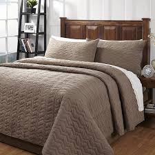 Zig Zag Taupe Textured 3-piece Cotton Quilt Set - On Sale - Free ... & Zig Zag Taupe Textured 3-piece Cotton Quilt Set Adamdwight.com