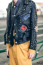 full article for this photo harajuku guy in edgy streetwear w studded leather jacket and black leather lace up shoes