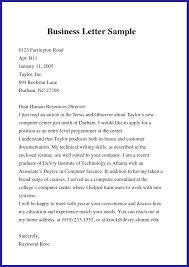 Example Of Simple Business Letter Template Business Letter