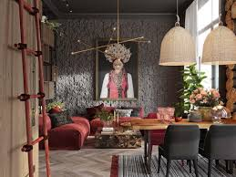 A Plush Red Apartment With Rustic